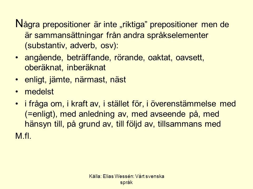 Källa: Elias Wessén: Vårt svenska språk Prepositioner från främmande språk à (à propos, apropå), per (per telefon) via (tågen åker vie Stockholm) (de är från franska och latinska)