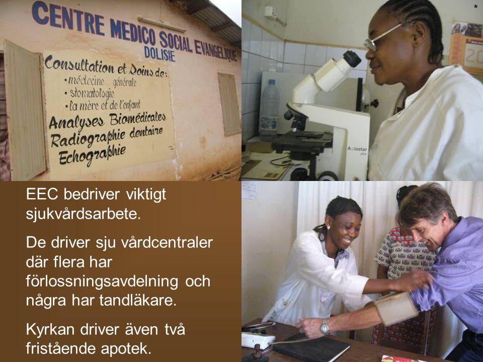 EEC bedriver viktigt sjukvårdsarbete. De driver sju vårdcentraler där flera har förlossningsavdelning och några har tandläkare. Kyrkan driver även två