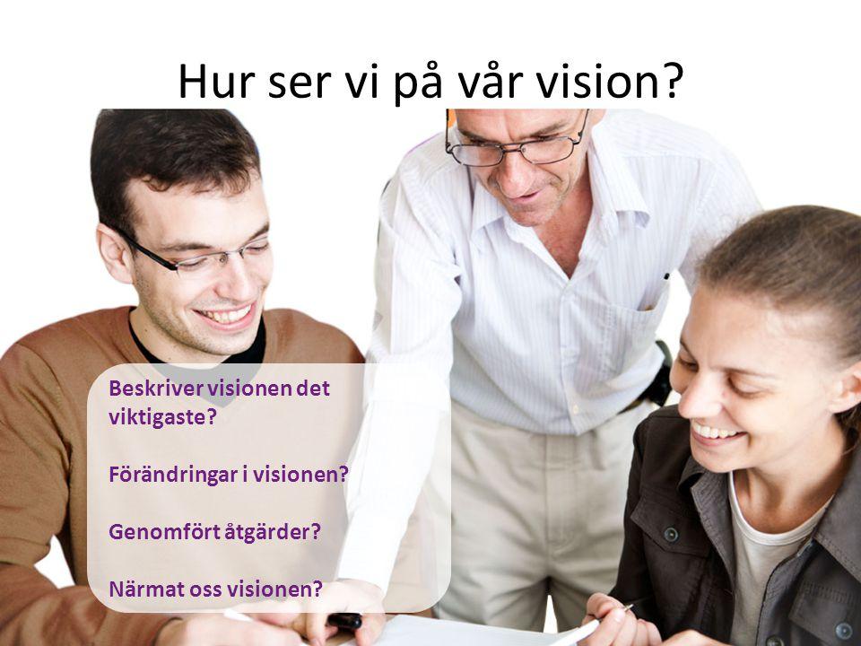 Hur ser vi på vår vision? Beskriver visionen det viktigaste? Förändringar i visionen? Genomfört åtgärder? Närmat oss visionen?