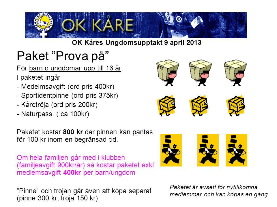 """OK Kåres Ungdomsupptakt 9 april 2013 Paket """"Prova på"""" För barn o ungdomar upp till 16 år. I paketet ingår - Medelmsavgift (ord pris 400kr) - Sportiden"""