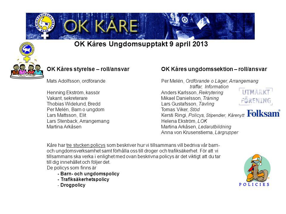 OK Kåres Ungdomsupptakt 9 april 2013 Barn- och ungdomskalendern kommer.