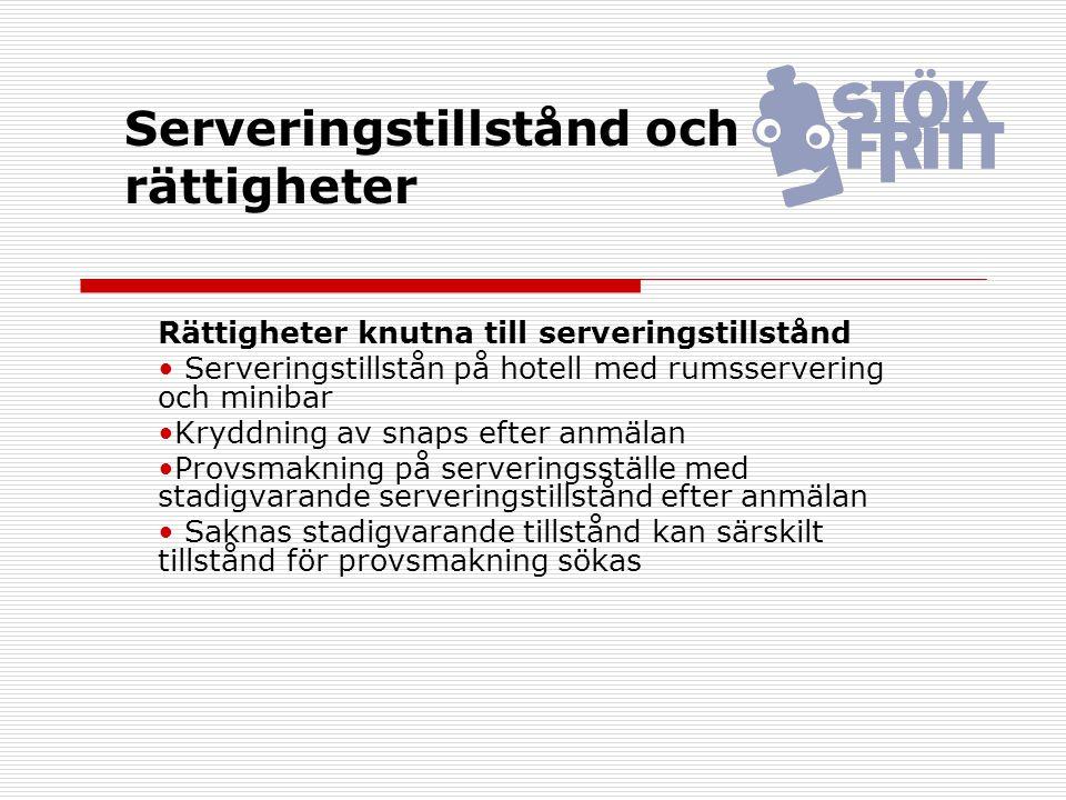 Serveringstillstånd och rättigheter Rättigheter knutna till serveringstillstånd Serveringstillstån på hotell med rumsservering och minibar Kryddning a