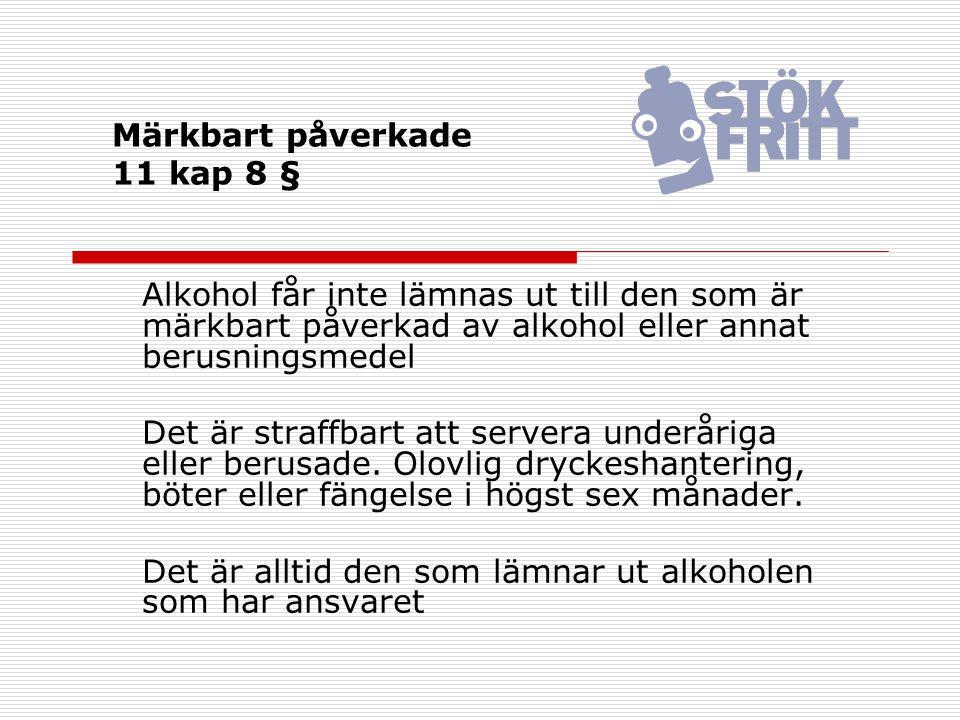 Märkbart påverkade 11 kap 8 § Alkohol får inte lämnas ut till den som är märkbart påverkad av alkohol eller annat berusningsmedel Det är straffbart at