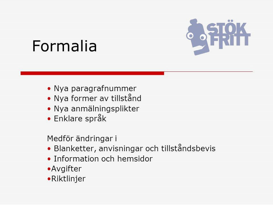 Formalia Nya paragrafnummer Nya former av tillstånd Nya anmälningsplikter Enklare språk Medför ändringar i Blanketter, anvisningar och tillståndsbevis