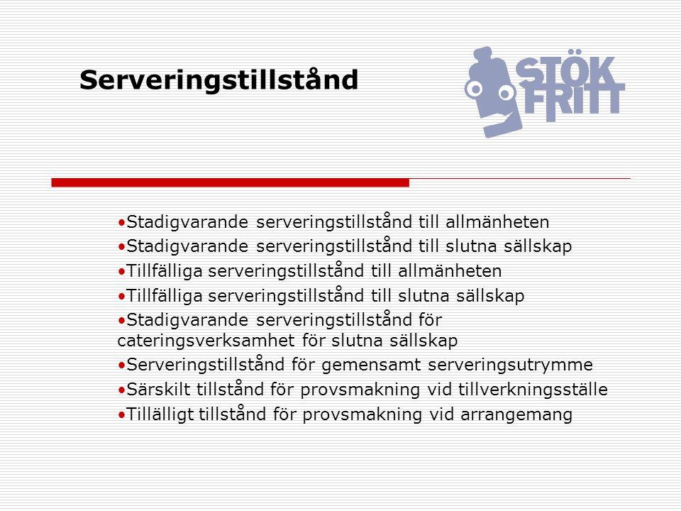Serveringstillstånd Stadigvarande serveringstillstånd till allmänheten Stadigvarande serveringstillstånd till slutna sällskap Tillfälliga serveringsti