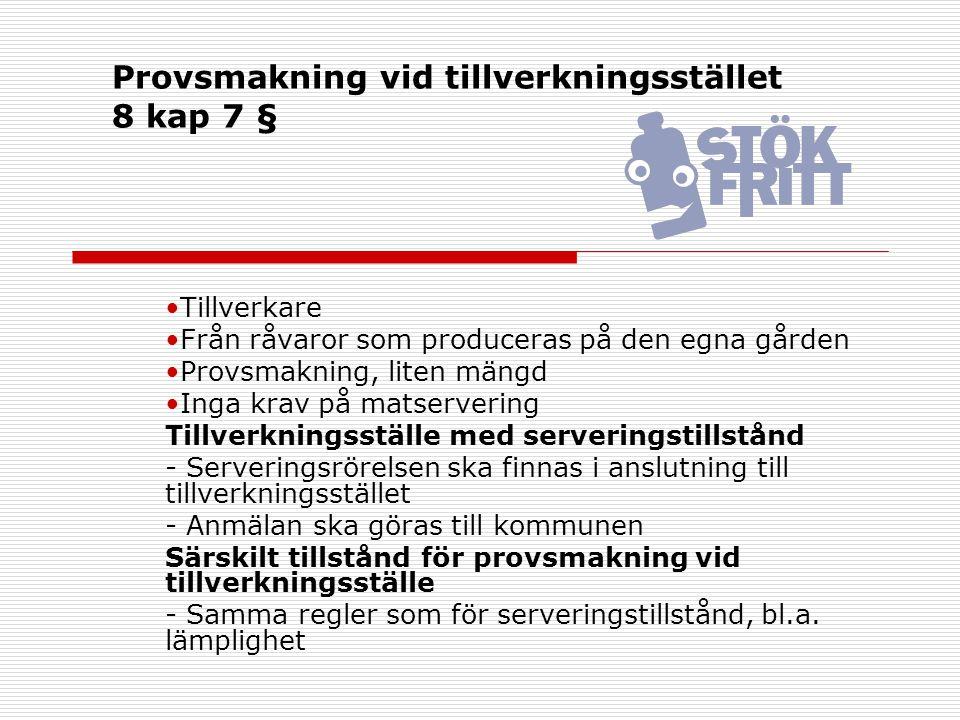 Provsmakning vid tillverkningsstället 8 kap 7 § Tillverkare Från råvaror som produceras på den egna gården Provsmakning, liten mängd Inga krav på mats