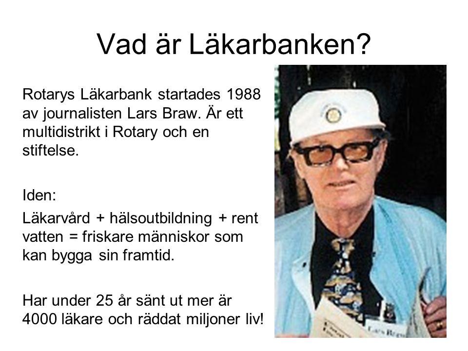 Vad är Läkarbanken? Rotarys Läkarbank startades 1988 av journalisten Lars Braw. Är ett multidistrikt i Rotary och en stiftelse. Iden: Läkarvård + häls
