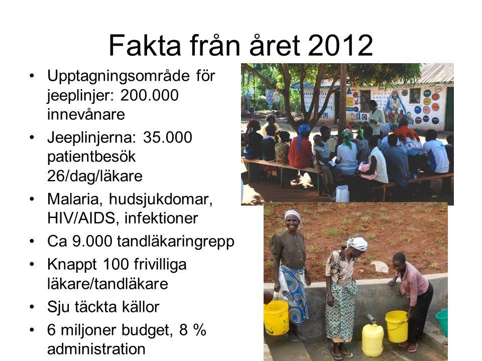 Fakta från året 2012 Upptagningsområde för jeeplinjer: 200.000 innevånare Jeeplinjerna: 35.000 patientbesök 26/dag/läkare Malaria, hudsjukdomar, HIV/A