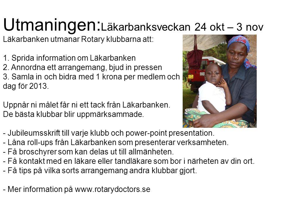 Utmaningen: Läkarbanksveckan 24 okt – 3 nov Läkarbanken utmanar Rotary klubbarna att: 1. Sprida information om Läkarbanken 2. Annordna ett arrangemang