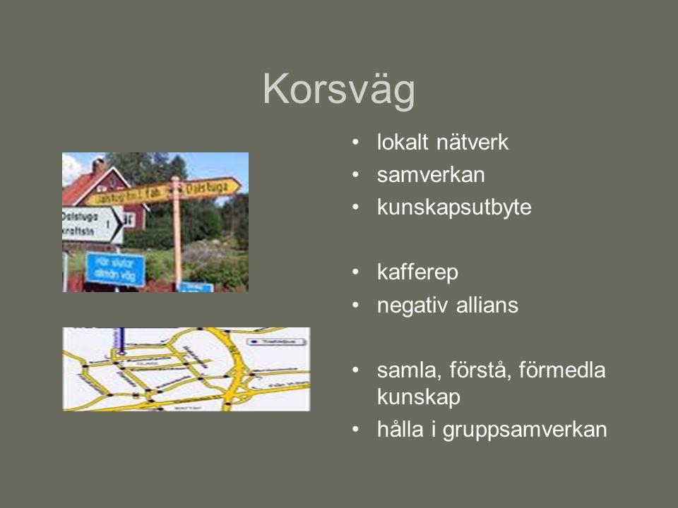 Korsväg lokalt nätverk samverkan kunskapsutbyte kafferep negativ allians samla, förstå, förmedla kunskap hålla i gruppsamverkan