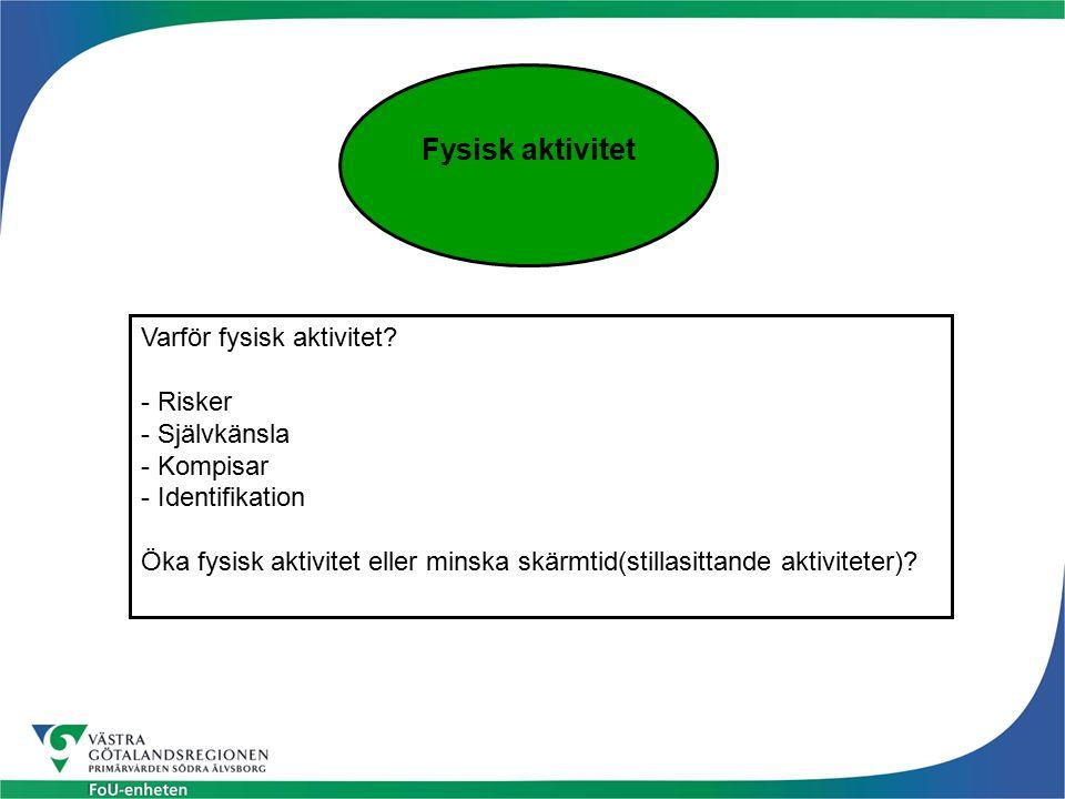 Fysisk aktivitet Varför fysisk aktivitet? - Risker - Självkänsla - Kompisar - Identifikation Öka fysisk aktivitet eller minska skärmtid(stillasittande