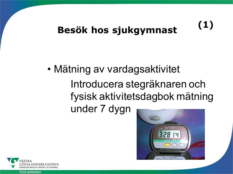 Besök hos sjukgymnast Mätning av vardagsaktivitet Introducera stegräknaren och fysisk aktivitetsdagbok mätning under 7 dygn (1)