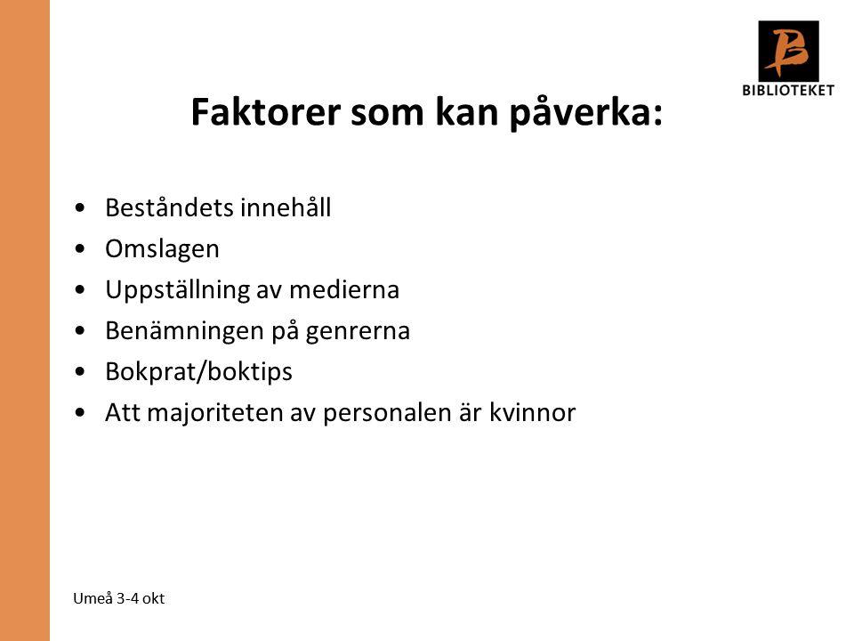 Umeå 3-4 okt Faktorer som kan påverka: Beståndets innehåll Omslagen Uppställning av medierna Benämningen på genrerna Bokprat/boktips Att majoriteten av personalen är kvinnor