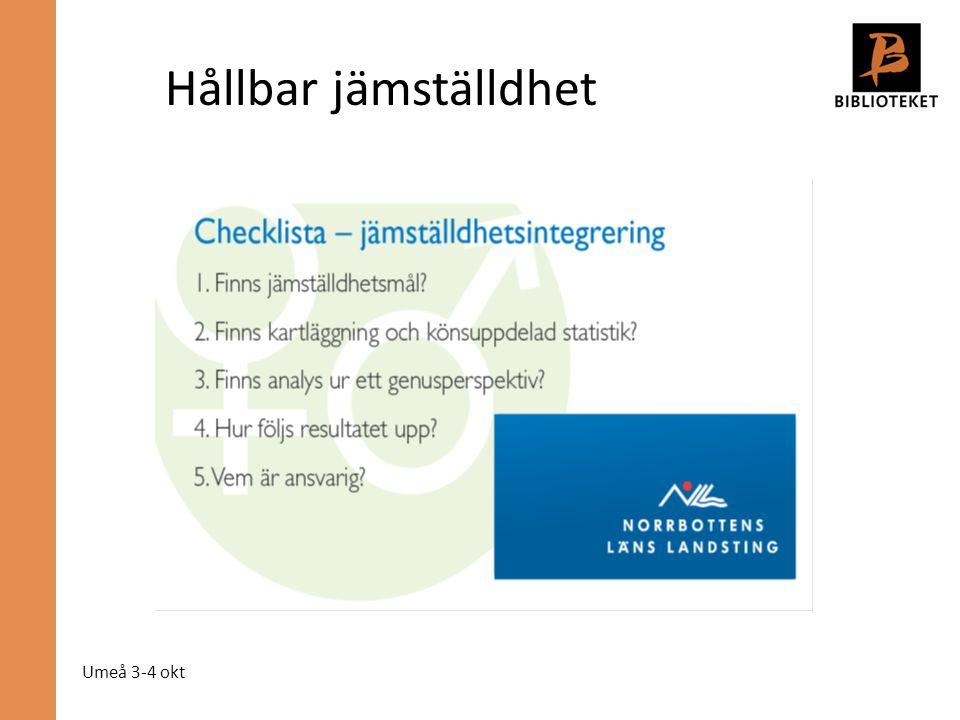 Umeå 3-4 okt Hållbar jämställdhet