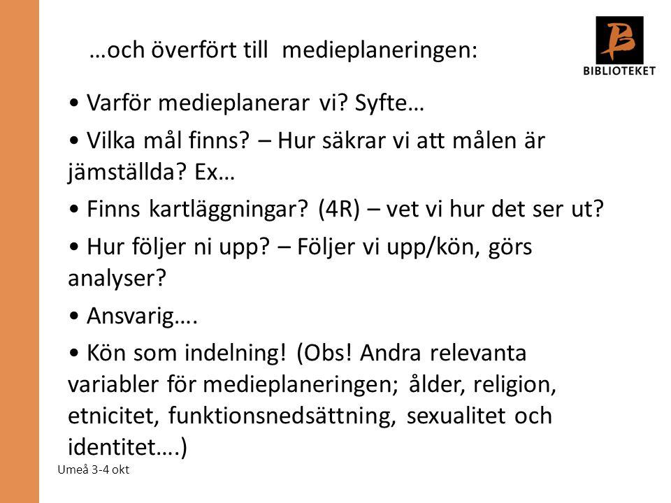 Umeå 3-4 okt Varför medieplanerar vi? Syfte… Vilka mål finns? – Hur säkrar vi att målen är jämställda? Ex… Finns kartläggningar? (4R) – vet vi hur det