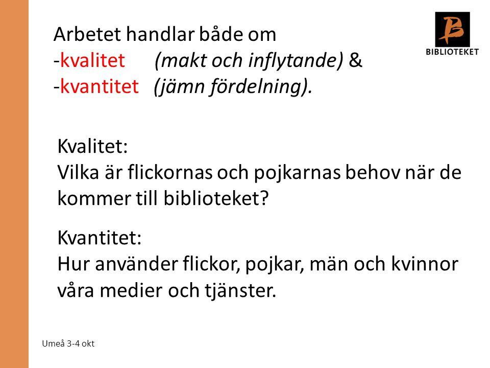 Umeå 3-4 okt Arbetet handlar både om -kvalitet (makt och inflytande) & -kvantitet (jämn fördelning). Kvalitet: Vilka är flickornas och pojkarnas behov