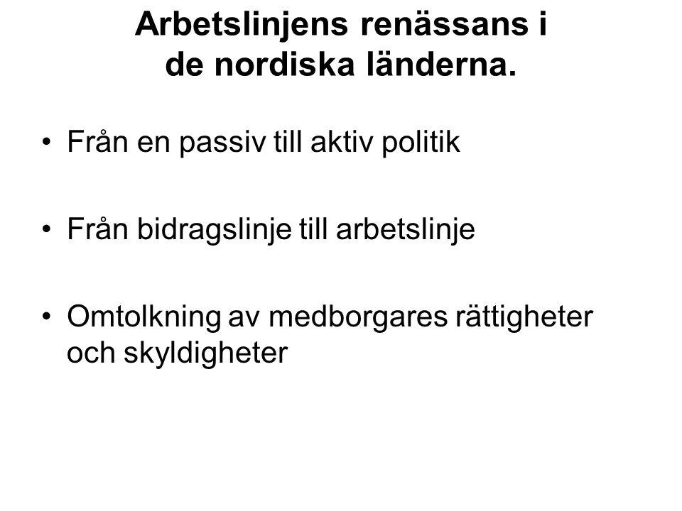 Arbetslinjens renässans i de nordiska länderna. Från en passiv till aktiv politik Från bidragslinje till arbetslinje Omtolkning av medborgares rättigh