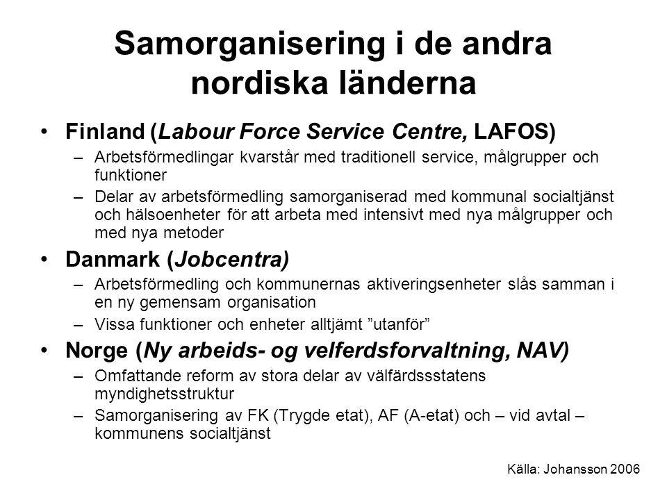Samorganisering i de andra nordiska länderna Finland (Labour Force Service Centre, LAFOS) –Arbetsförmedlingar kvarstår med traditionell service, målgr