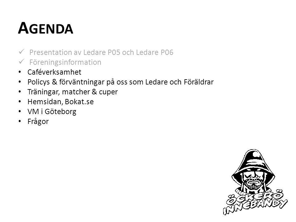 A GENDA Presentation av Ledare P05 och Ledare P06 Föreningsinformation Caféverksamhet Policys & förväntningar på oss som Ledare och Föräldrar Träningar, matcher & cuper Hemsidan, Bokat.se VM i Göteborg Frågor