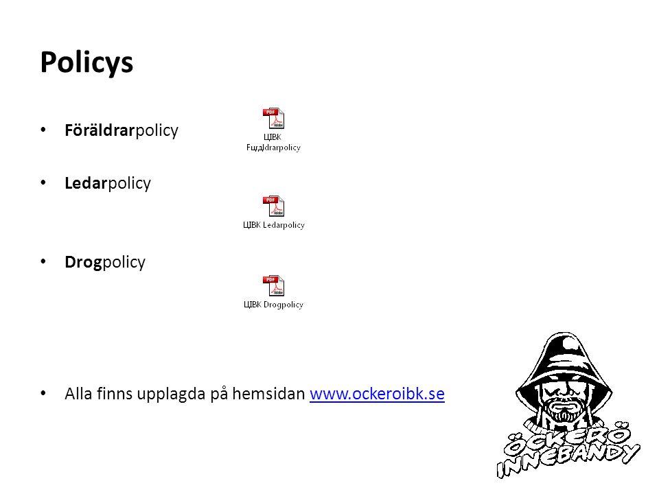 Policys Föräldrarpolicy Ledarpolicy Drogpolicy Alla finns upplagda på hemsidan www.ockeroibk.sewww.ockeroibk.se