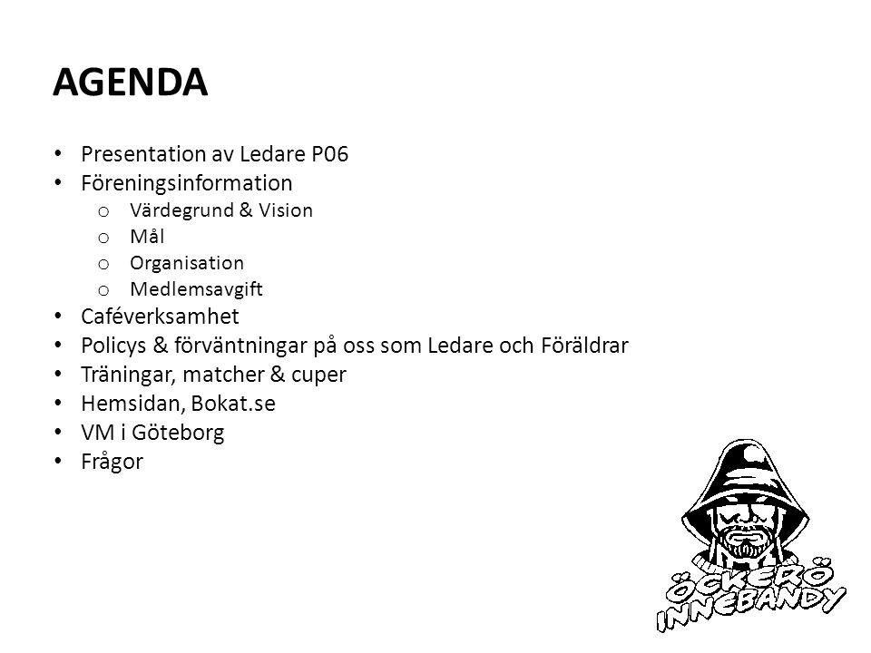 AGENDA Presentation av Ledare P06 Föreningsinformation o Värdegrund & Vision o Mål o Organisation o Medlemsavgift Caféverksamhet Policys & förväntning