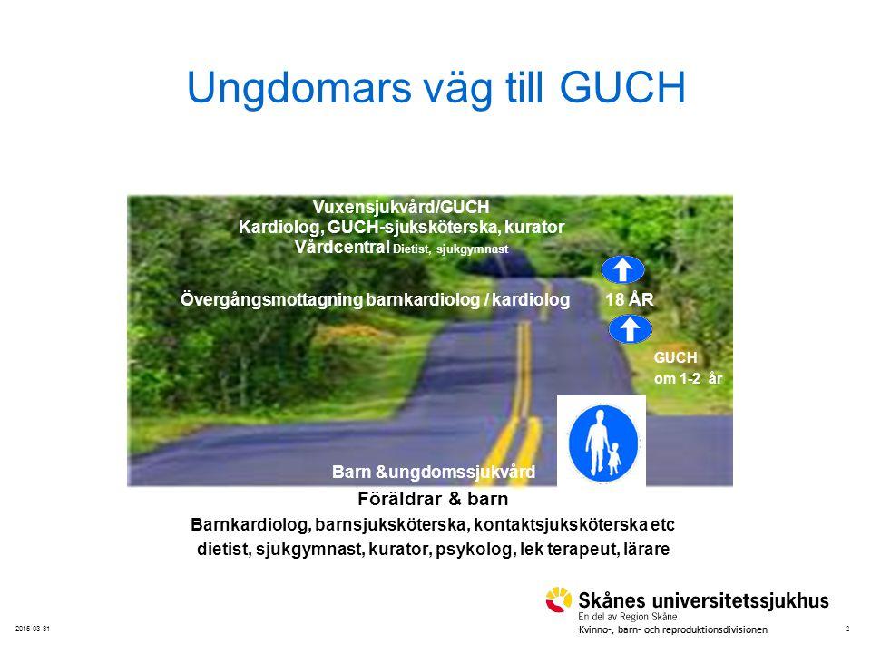 22015-03-31 Kvinno-, barn- och reproduktionsdivisionen Ungdomars väg till GUCH Barn &ungdomssjukvård Föräldrar & barn Barnkardiolog, barnsjuksköterska