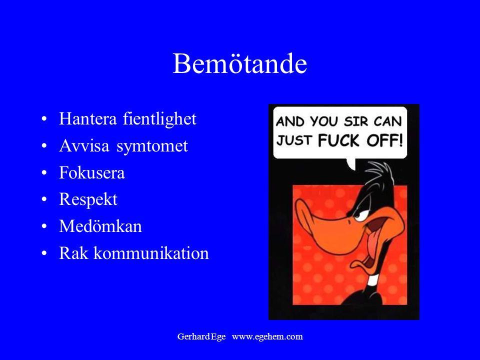 Gerhard Ege www.egehem.com Bemötande Hantera fientlighet Avvisa symtomet Fokusera Respekt Medömkan Rak kommunikation
