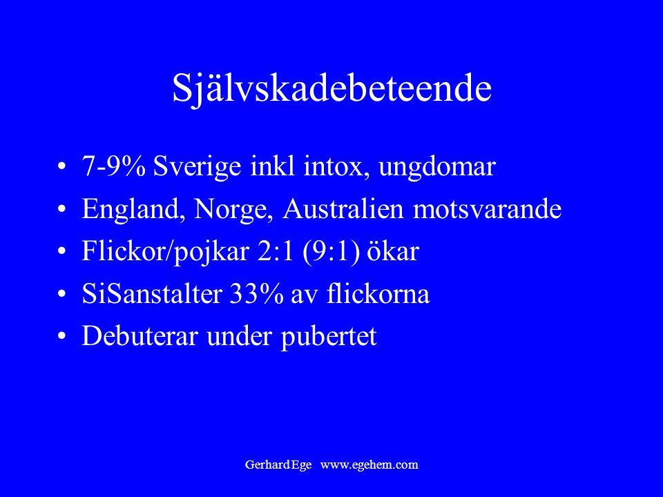 Gerhard Ege www.egehem.com Självskadebeteende 7-9% Sverige inkl intox, ungdomar England, Norge, Australien motsvarande Flickor/pojkar 2:1 (9:1) ökar S