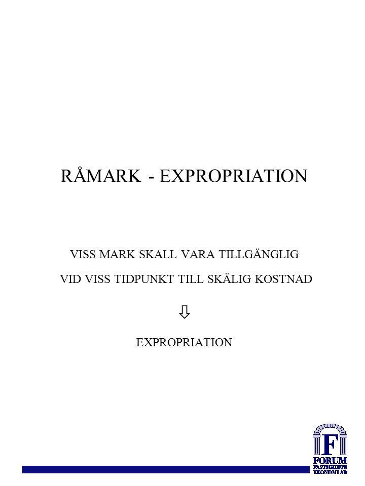 RÅMARK - EXPROPRIATION VISS MARK SKALL VARA TILLGÄNGLIG VID VISS TIDPUNKT TILL SKÄLIG KOSTNAD  EXPROPRIATION