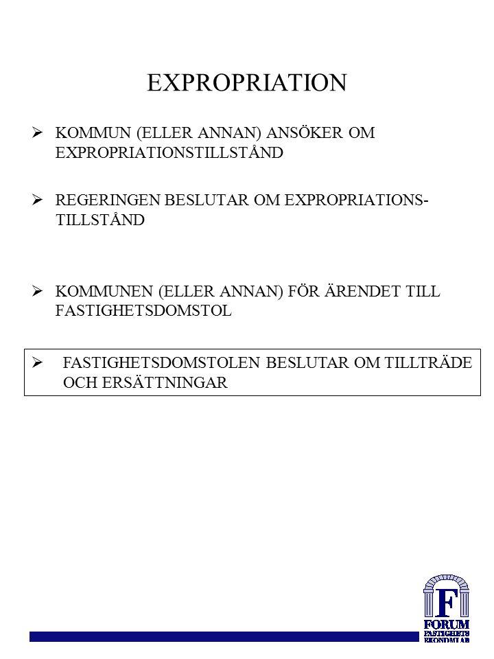 KOMMUN (ELLER ANNAN) ANSÖKER OM EXPROPRIATIONSTILLSTÅND  REGERINGEN BESLUTAR OM EXPROPRIATIONS- TILLSTÅND  KOMMUNEN (ELLER ANNAN) FÖR ÄRENDET TILL FASTIGHETSDOMSTOL  FASTIGHETSDOMSTOLEN BESLUTAR OM TILLTRÄDE OCH ERSÄTTNINGAR