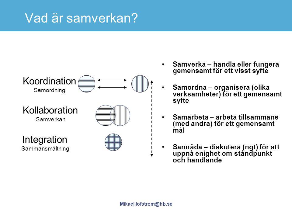 Mikael.lofstrom@hb.se Vad är samverkan? Koordination Samordning Kollaboration Samverkan Integration Sammansmältning Samverka – handla eller fungera ge