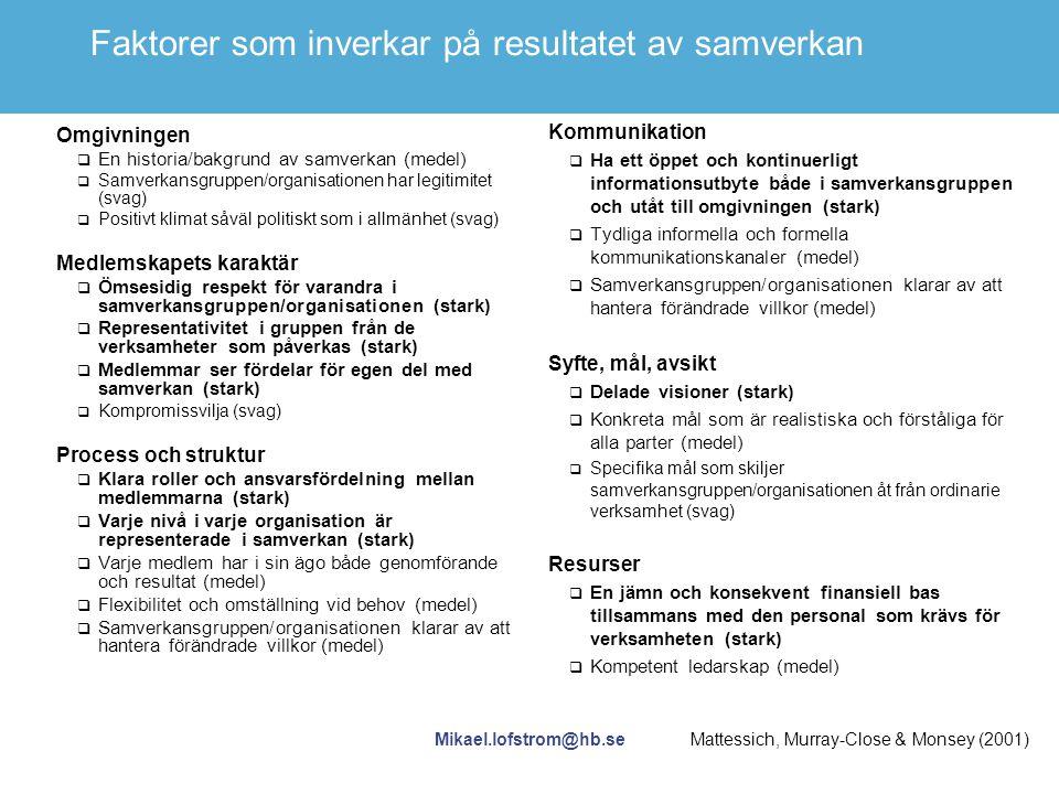 Mikael.lofstrom@hb.se Faktorer som inverkar på resultatet av samverkan Omgivningen  En historia/bakgrund av samverkan (medel)  Samverkansgruppen/org