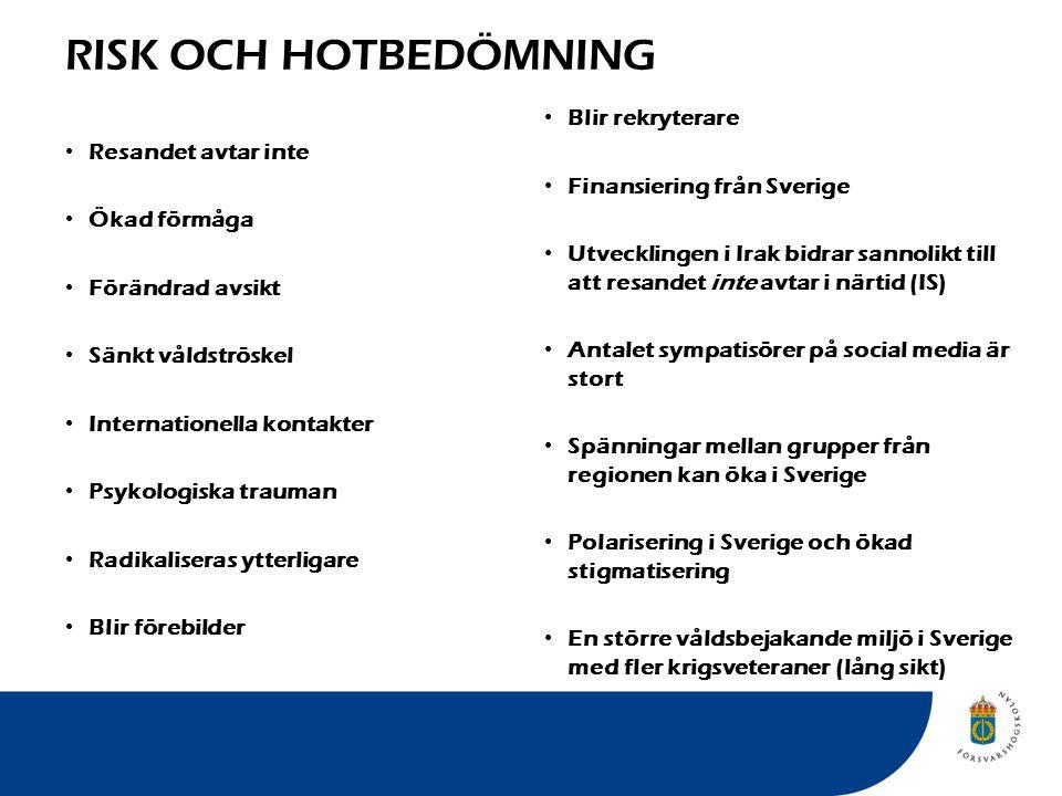 RISK OCH HOTBEDÖMNING Resandet avtar inte Ökad förmåga Förändrad avsikt Sänkt våldströskel Internationella kontakter Psykologiska trauman Radikaliseras ytterligare Blir förebilder Blir rekryterare Finansiering från Sverige Utvecklingen i Irak bidrar sannolikt till att resandet inte avtar i närtid (IS) Antalet sympatisörer på social media är stort Spänningar mellan grupper från regionen kan öka i Sverige Polarisering i Sverige och ökad stigmatisering En större våldsbejakande miljö i Sverige med fler krigsveteraner (lång sikt)