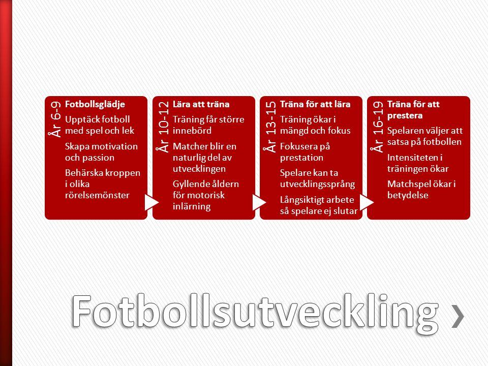 År 6-9 Fotbollsglädje Upptäck fotboll med spel och lek Skapa motivation och passion Behärska kroppen i olika rörelsemönster År 10-12 Lära att träna Tr