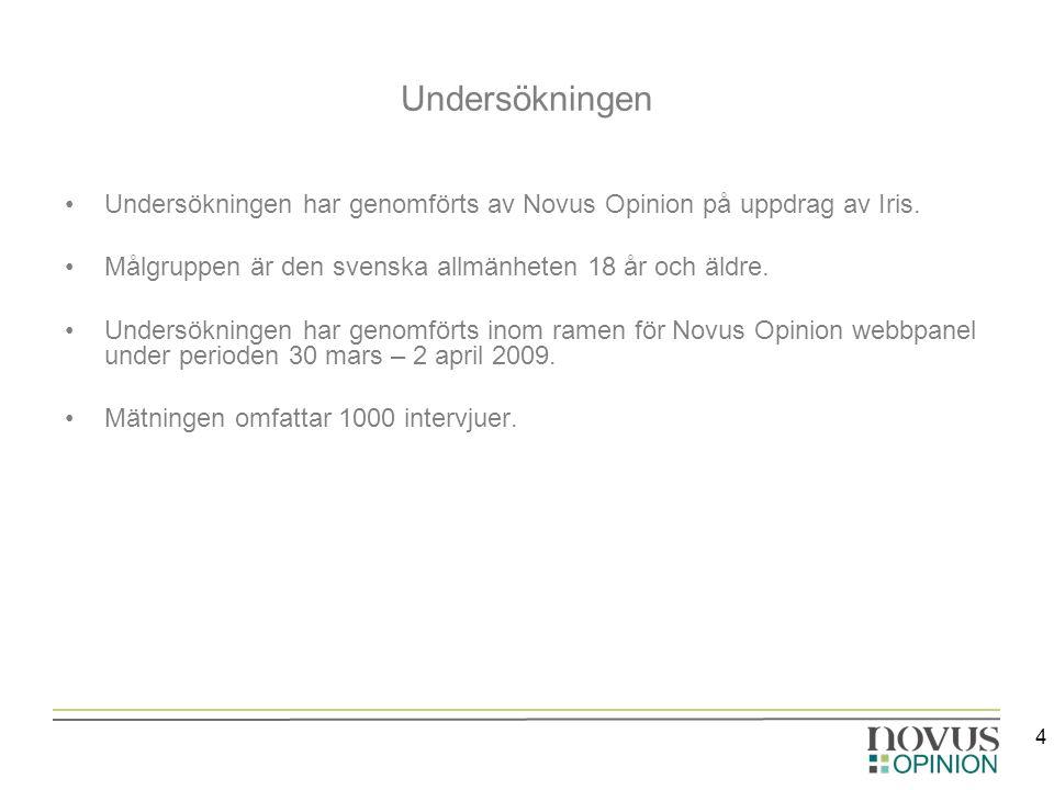 4 Undersökningen Undersökningen har genomförts av Novus Opinion på uppdrag av Iris. Målgruppen är den svenska allmänheten 18 år och äldre. Undersöknin