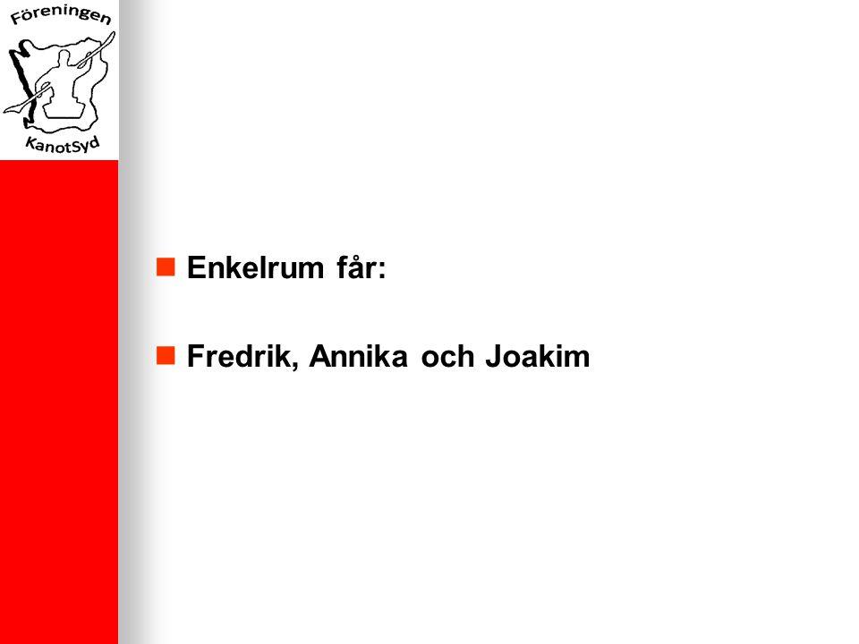 Enkelrum får: Fredrik, Annika och Joakim