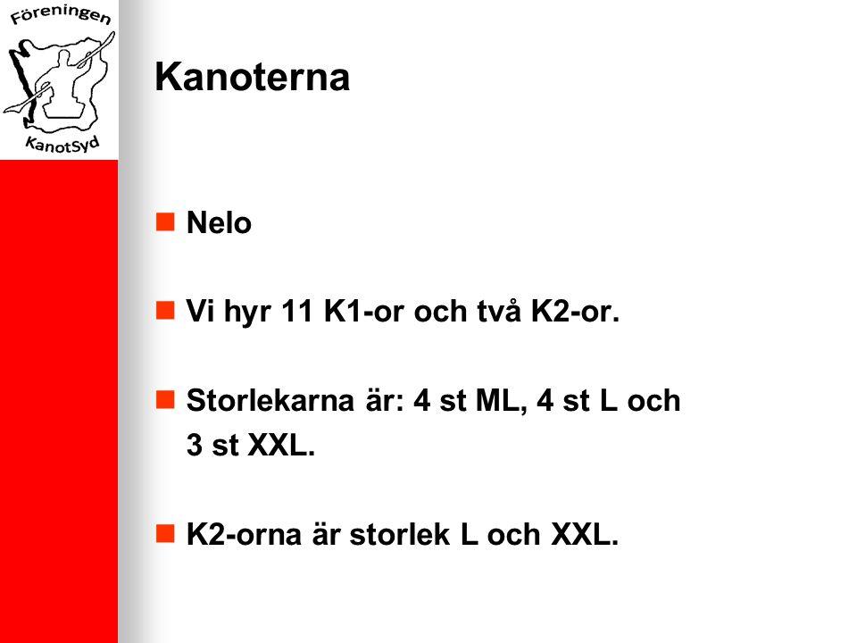 Kanoterna Nelo Vi hyr 11 K1-or och två K2-or. Storlekarna är: 4 st ML, 4 st L och 3 st XXL.