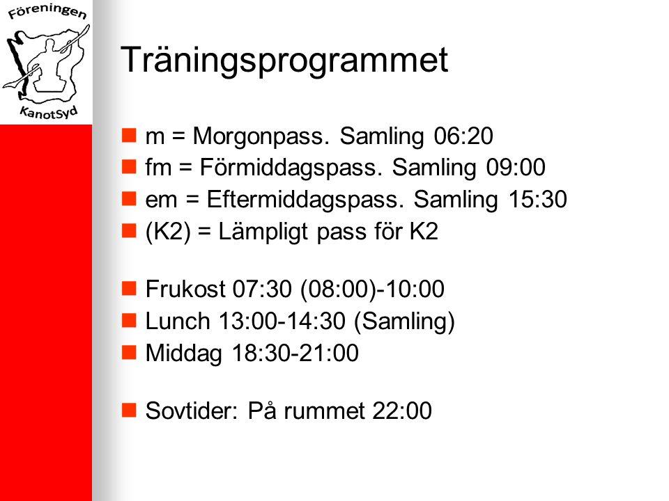 Träningsprogrammet m = Morgonpass. Samling 06:20 fm = Förmiddagspass.