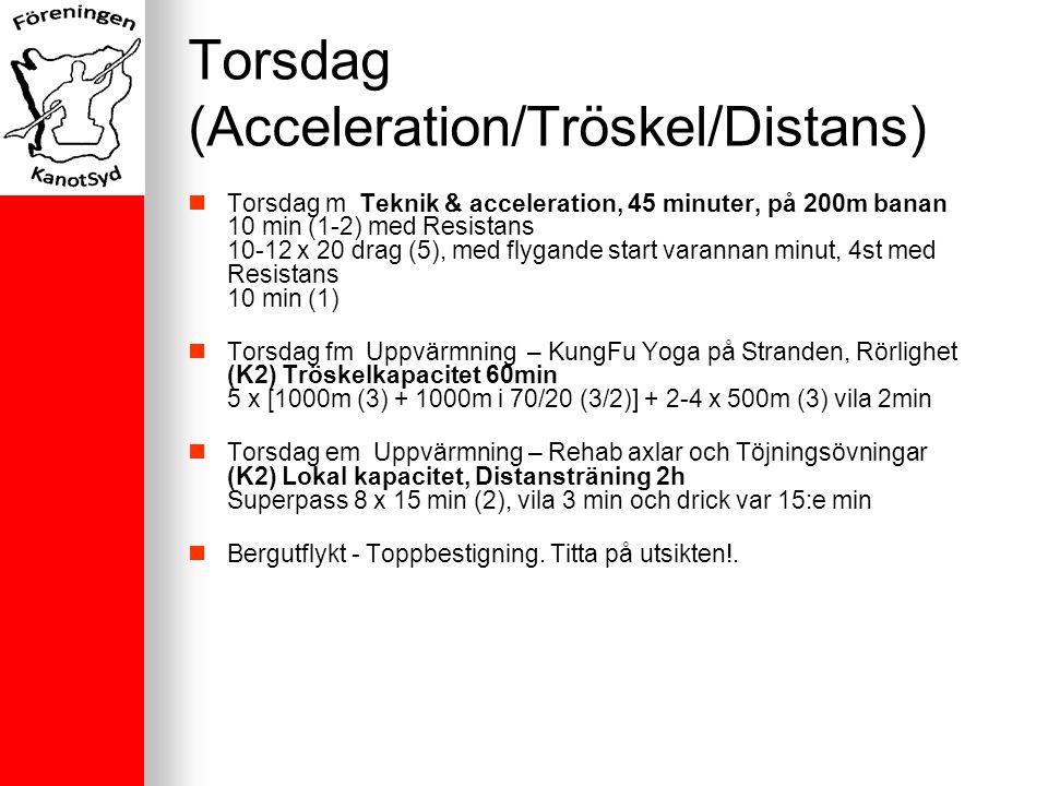 Torsdag (Acceleration/Tröskel/Distans) Torsdag m Teknik & acceleration, 45 minuter, på 200m banan 10 min (1-2) med Resistans 10-12 x 20 drag (5), med flygande start varannan minut, 4st med Resistans 10 min (1) Torsdag fm Uppvärmning – KungFu Yoga på Stranden, Rörlighet (K2) Tröskelkapacitet 60min 5 x [1000m (3) + 1000m i 70/20 (3/2)] + 2-4 x 500m (3) vila 2min Torsdag em Uppvärmning – Rehab axlar och Töjningsövningar (K2) Lokal kapacitet, Distansträning 2h Superpass 8 x 15 min (2), vila 3 min och drick var 15:e min Bergutflykt - Toppbestigning.