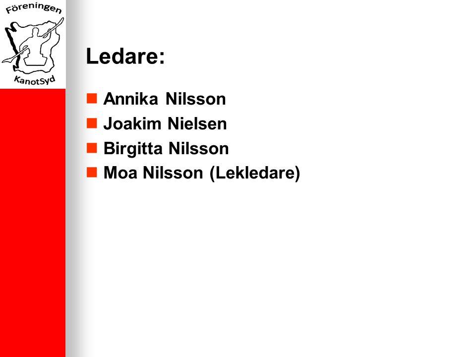 Ledare: Annika Nilsson Joakim Nielsen Birgitta Nilsson Moa Nilsson (Lekledare)