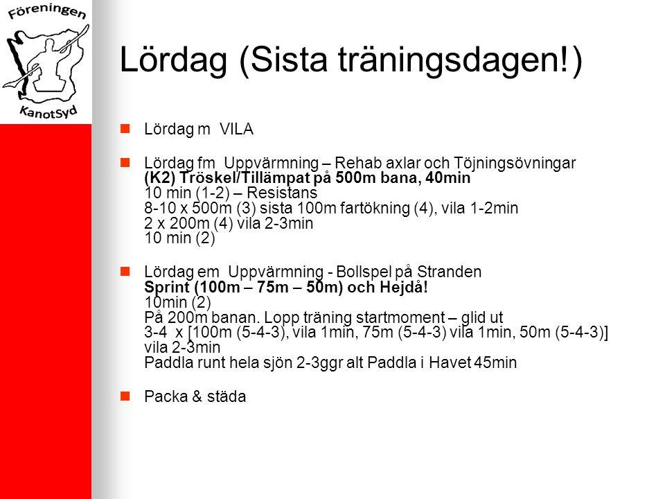 Lördag (Sista träningsdagen!) Lördag m VILA Lördag fm Uppvärmning – Rehab axlar och Töjningsövningar (K2) Tröskel/Tillämpat på 500m bana, 40min 10 min (1-2) – Resistans 8-10 x 500m (3) sista 100m fartökning (4), vila 1-2min 2 x 200m (4) vila 2-3min 10 min (2) Lördag em Uppvärmning - Bollspel på Stranden Sprint (100m – 75m – 50m) och Hejdå.