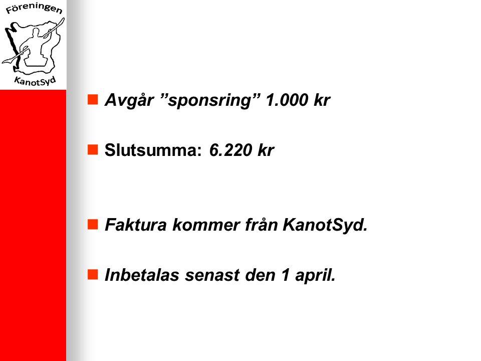 Avgår sponsring 1.000 kr Slutsumma: 6.220 kr Faktura kommer från KanotSyd.