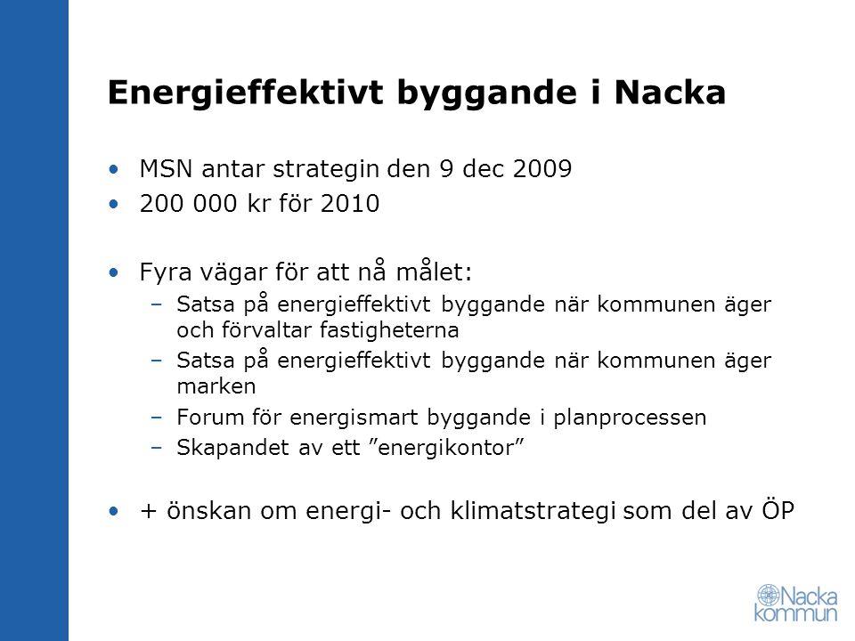 MSN antar strategin den 9 dec 2009 200 000 kr för 2010 Fyra vägar för att nå målet: –Satsa på energieffektivt byggande när kommunen äger och förvaltar fastigheterna –Satsa på energieffektivt byggande när kommunen äger marken –Forum för energismart byggande i planprocessen –Skapandet av ett energikontor + önskan om energi- och klimatstrategi som del av ÖP
