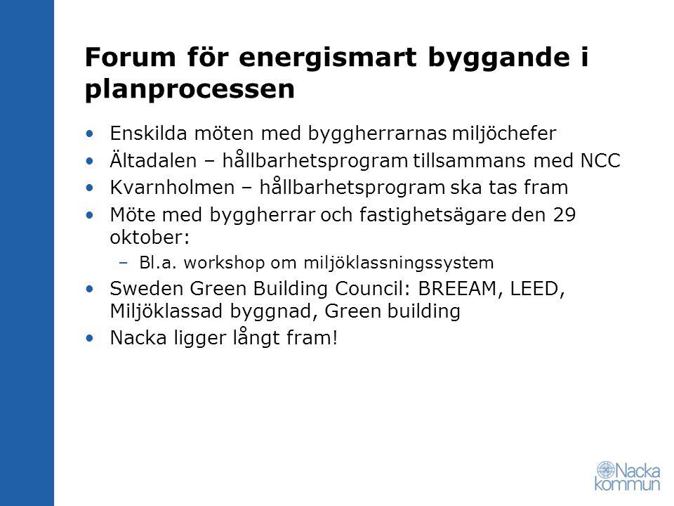Forum för energismart byggande i planprocessen Enskilda möten med byggherrarnas miljöchefer Ältadalen – hållbarhetsprogram tillsammans med NCC Kvarnholmen – hållbarhetsprogram ska tas fram Möte med byggherrar och fastighetsägare den 29 oktober: –Bl.a.