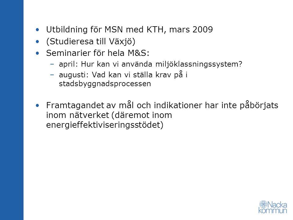 Utbildning för MSN med KTH, mars 2009 (Studieresa till Växjö) Seminarier för hela M&S: –april: Hur kan vi använda miljöklassningssystem? –augusti: Vad
