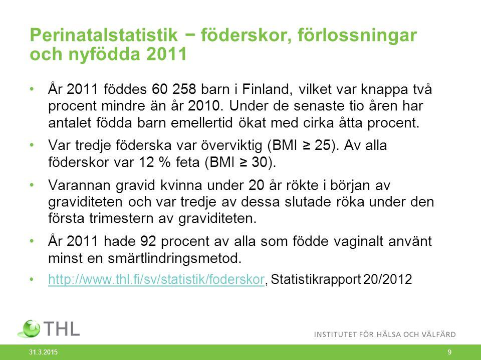 Perinatalstatistik − föderskor, förlossningar och nyfödda 2011 År 2011 föddes 60 258 barn i Finland, vilket var knappa två procent mindre än år 2010.