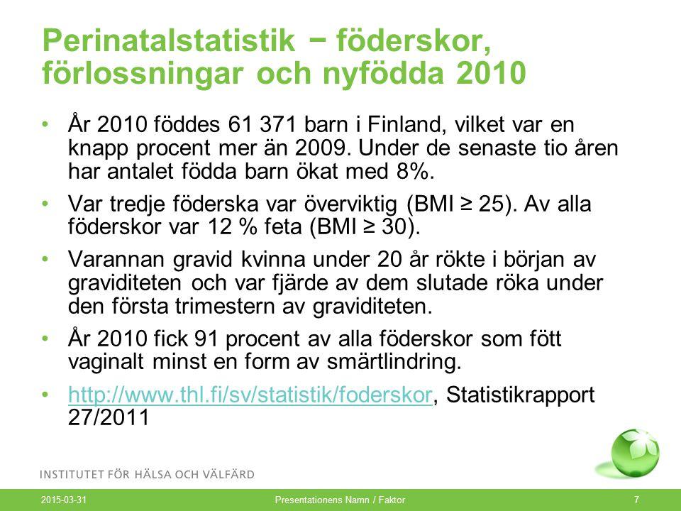 Perinatalstatistik − föderskor, förlossningar och nyfödda 2010 År 2010 föddes 61 371 barn i Finland, vilket var en knapp procent mer än 2009.