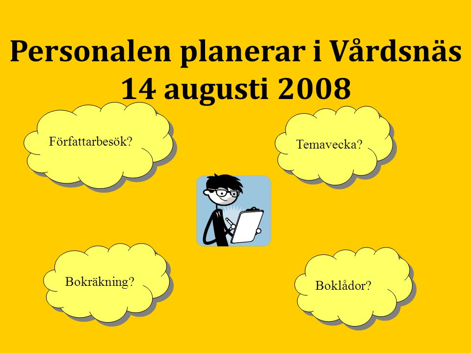 Personalen planerar i Vårdsnäs 14 augusti 2008 Bokräkning? Författarbesök? Temavecka? Boklådor?