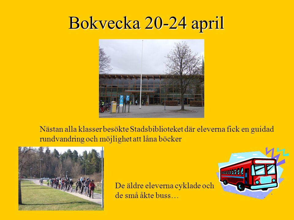 Bokvecka 20-24 april Nästan alla klasser besökte Stadsbiblioteket där eleverna fick en guidad rundvandring och möjlighet att låna böcker De äldre eleverna cyklade och de små åkte buss…