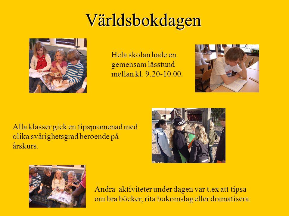 Världsbokdagen Hela skolan hade en gemensam lässtund mellan kl. 9.20-10.00. Alla klasser gick en tipspromenad med olika svårighetsgrad beroende på års